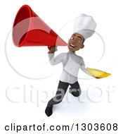 3d Young Black Male Chef Holding A Banana And Announcing Upwards With A Megaphone