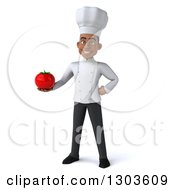 3d Young Black Male Chef Holding A Tomato