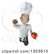 Clipart Of A 3d Young Black Male Super Chef Flying And Holding A Tomato Royalty Free Illustration