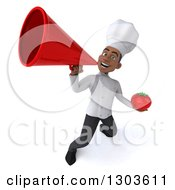 3d Young Black Male Chef Holding A Tomato And Announcing Upwards With A Megaphone