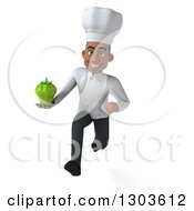 Clipart Of A 3d Young Black Male Chef Sprinting With A Green Bell Pepper Royalty Free Illustration
