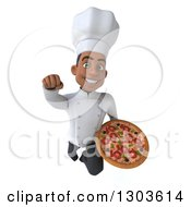 3d Young Black Male Super Chef Flying With A Pizza