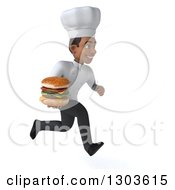 Clipart Of A 3d Young Black Male Chef Sprinting To The Right With A Double Cheeseburger Royalty Free Illustration