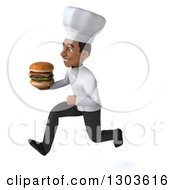 Clipart Of A 3d Young Black Male Chef Sprinting To The Left With A Double Cheeseburger Royalty Free Illustration