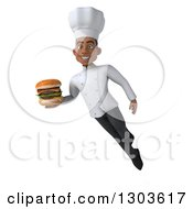 3d Young Black Male Super Chef Flying And Holding A Double Cheeseburger