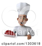 Clipart Of A 3d Young Black Male Chef Holding A Beef Steak Over A Sign Royalty Free Illustration