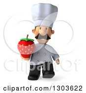 Clipart Of A 3d Short White Male Chef With A Mustache Walking With A Strawberry Royalty Free Illustration