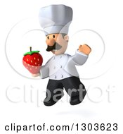Clipart Of A 3d Short White Male Chef With A Mustache Facing Slightly Left Jumping And Holding A Strawberry Royalty Free Illustration
