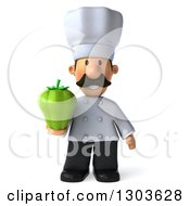 Clipart Of A 3d Short White Male Chef With A Mustache Holding A Green Bell Pepper Royalty Free Illustration