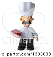 Clipart Of A 3d Short White Male Chef With A Mustache Holding A Beef Steak Royalty Free Illustration