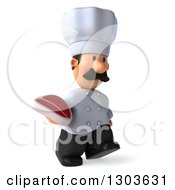 Clipart Of A 3d Short White Male Chef With A Mustache Walking Slightly To The Right And Holding A Beef Steak Royalty Free Illustration