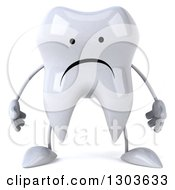 Clipart Of A 3d Unhappy Tooth Character Royalty Free Illustration