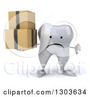Clipart Of A 3d Unhappy Tooth Character Holding A Thumb Down And Boxes Royalty Free Illustration