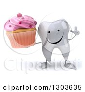 Clipart Of A 3d Happy Tooth Character Holding Up A Finger And A Pink Frosted Cupcake Royalty Free Illustration