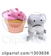 Clipart Of A 3d Unhappy Tooth Character Holding Up A Pink Frosted Cupcake Royalty Free Illustration