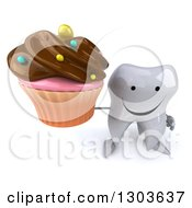 Clipart Of A 3d Happy Tooth Character Holding Up A Chocolate Frosted Cupcake Royalty Free Illustration
