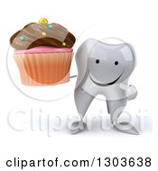Clipart Of A 3d Happy Tooth Character Holding And Pointing To A Chocolate Frosted Cupcake Royalty Free Illustration