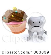 Clipart Of A 3d Unhappy Tooth Character Holding Up A Chocolate Frosted Cupcake Royalty Free Illustration