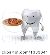 Clipart Of A 3d Happy Tooth Character Holding A Pizza Royalty Free Illustration