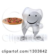 Clipart Of A 3d Happy Tooth Character Holding And Pointing To A Pizza Royalty Free Illustration