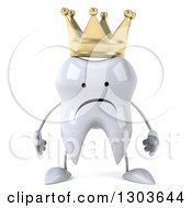 Clipart Of A 3d Unhappy Crowned Tooth Character Royalty Free Illustration