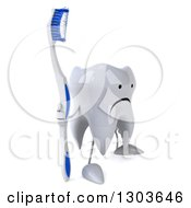 Clipart Of A 3d Unhappy Tooth Character Facing Slightly Right And Standing With A Giant Toothbrush Royalty Free Illustration