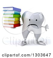 Clipart Of A 3d Unhappy Tooth Character Holding A Thumb Down And A Stack Of Books Royalty Free Illustration