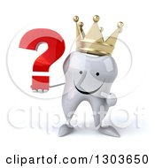 Clipart Of A 3d Happy Crowned Tooth Character Holding And Pointing To A Question Mark Royalty Free Illustration