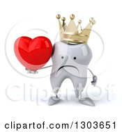 Clipart Of A 3d Unhappy Crowned Tooth Character Holding A Heart Royalty Free Illustration