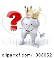 Clipart Of A 3d Happy Crowned Tooth Character Shrugging And Holding A Question Mark Royalty Free Illustration