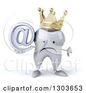 Clipart Of A 3d Unhappy Crowned Tooth Character Holding A Thumb Down And An Email Arobase At Symbol Royalty Free Illustration