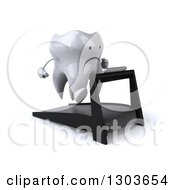 Clipart Of A 3d Unhappy Tooth Character Facing Slightly Right And Running On A Treadmill Royalty Free Illustration