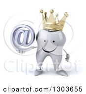 Clipart Of A 3d Happy Crowned Tooth Character Holding An Email Arobase At Symbol Royalty Free Illustration