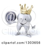 Clipart Of A 3d Happy Crowned Tooth Character Shrugging And Holding An Email Arobase At Symbol Royalty Free Illustration