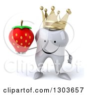 Clipart Of A 3d Happy Crowned Tooth Character Holding A Strawberry Royalty Free Illustration