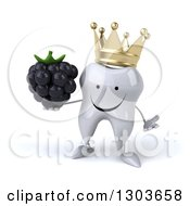 Clipart Of A 3d Happy Crowned Tooth Character Shrugging And Holding A Blackberry Royalty Free Illustration