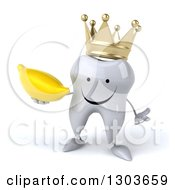 Clipart Of A 3d Happy Crowned Tooth Character Shrugging And Holding A Banana Royalty Free Illustration
