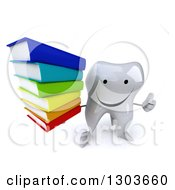 Clipart Of A 3d Happy Tooth Character Holding Up A Thumb And A Stack Of Books Royalty Free Illustration