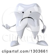 Clipart Of A 3d Unhappy Tooth Character And Presenting Royalty Free Illustration