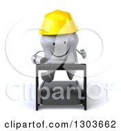 Clipart Of A 3d Happy Contractor Tooth Character Holding Plans And Running On A Treadmill Royalty Free Illustration