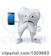 Clipart Of A 3d Unhappy Tooth Character Holding And Pointing To A Smart Cell Phone Royalty Free Illustration