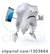 Clipart Of A 3d Unhappy Tooth Character Facing Slightly Right Jumping And Holding A Smart Cell Phone Royalty Free Illustration