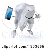 Clipart Of A 3d Happy Tooth Character Facing Slightly Right Jumping And Holding A Smart Cell Phone Royalty Free Illustration