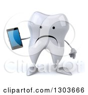 Clipart Of A 3d Unhappy Tooth Character Holding A Smart Cell Phone Royalty Free Illustration