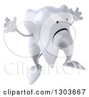 Clipart Of A 3d Unhappy Tooth Character Facing Slightly Right And Jumping Royalty Free Illustration