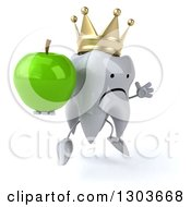 Clipart Of A 3d Unhappy Crowned Tooth Character Facing Slightly Right Jumping And Holding A Green Apple Royalty Free Illustration