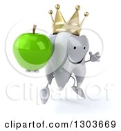 Clipart Of A 3d Happy Crowned Tooth Character Facing Slightly Right Jumping And Holding A Green Apple Royalty Free Illustration
