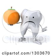 Clipart Of A 3d Unhappy Tooth Character Shrugging And Holding A Navel Orange Royalty Free Illustration