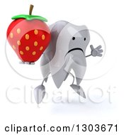 Clipart Of A 3d Unhappy Tooth Character Facing Slightly Right Jumping And Holding A Strawberry Royalty Free Illustration