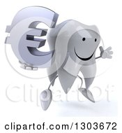 Clipart Of A 3d Happy Tooth Character Facing Right Jumping And Holding A Euro Symbol Royalty Free Illustration